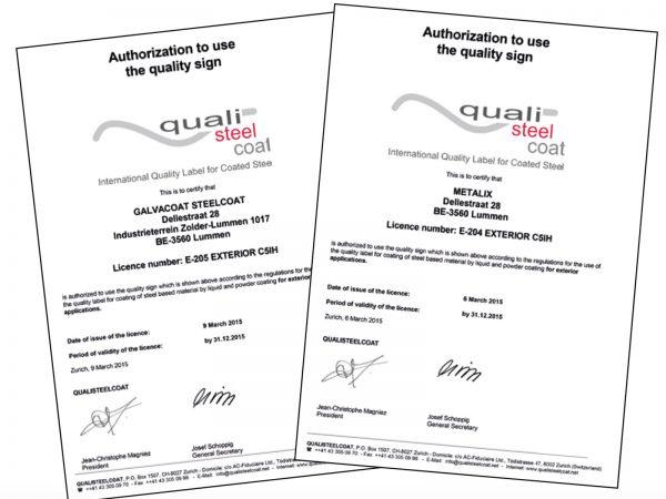 Quialisteelcoat Certificaat